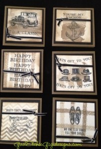"""iInside ideas for 3"""" x 3"""" manly cards, using Guy Greetings and WOrk of Art stamp sets!"""