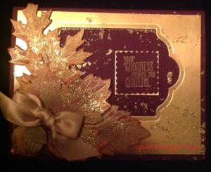 Gail's card focusing on embossing and glitter splatts!