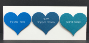Dapper Denim is a rich, deep blue with a hint of green and reminds me of retired Stampin' Up! color Not Quite Navy.