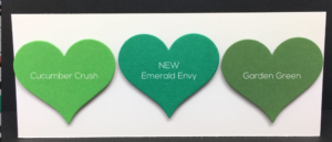 Emerald Envy is a crisp, kelly green. It has a blue base that sets it apart from many of the Stampin' Up! greens.
