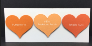 "Peekaboo Peach fills a gap in the Stampin' Up! colors for a soft, pastel orange. It will ""rock out"" the copper accessories, too!"
